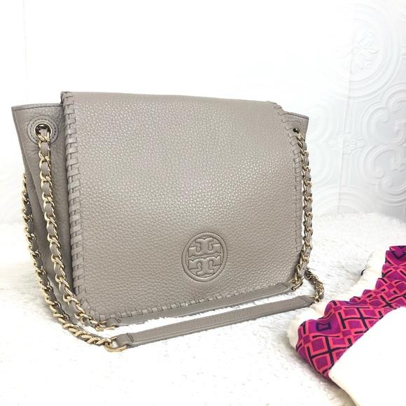 Tory Burch Handbags - 🌸OFFERS?🌸Tory Burch Leather Whipstitch GrayPurse